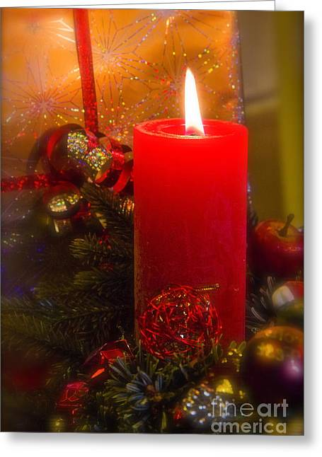 Candle Lit Greeting Cards - The Christmas candle Greeting Card by Sophie De Roumanie