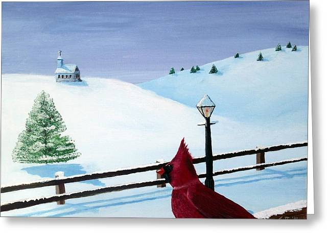 Christmas Eve Greeting Cards - The Christmas Cardinal Greeting Card by Spencer Hudon II