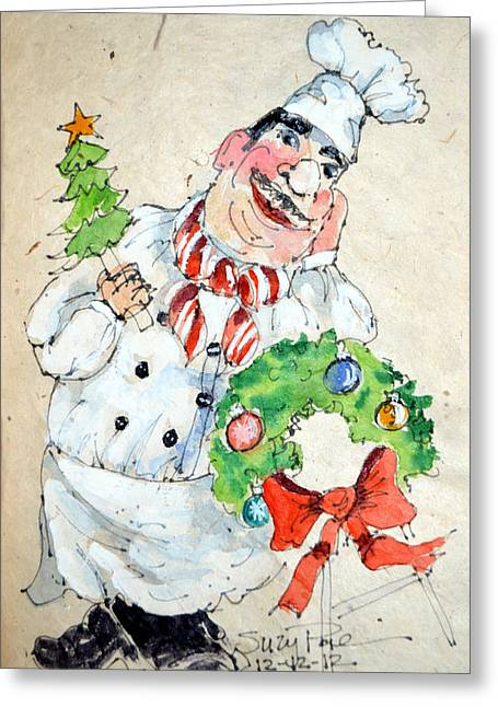Christmas Art Greeting Cards - The Christmas Chef Greeting Card by Suzy Pal Powell