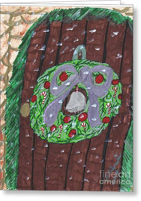 Snowy Night Mixed Media Greeting Cards - The Christmas Door Wreathe Greeting Card by Elinor  Rakowski