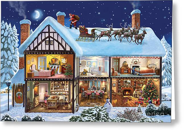 Snowy Night Night Greeting Cards - Christmas House Greeting Card by Steve Crisp