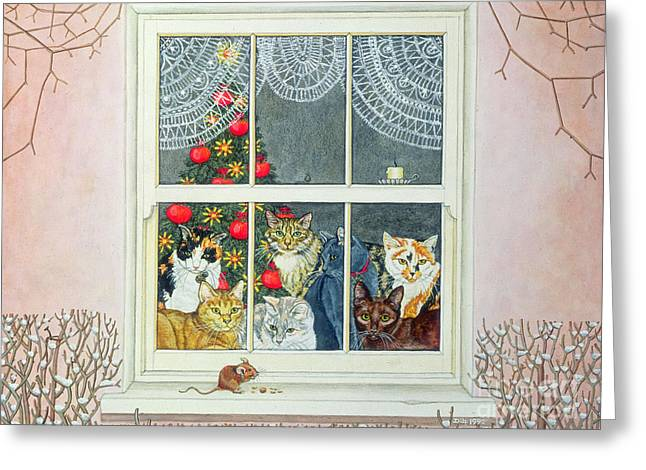 Window Frame Greeting Cards - The Christmas Mouse Greeting Card by Ditz