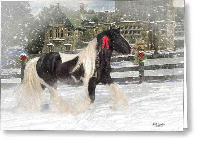 Gypsy Vanner Horse Greeting Cards - The Christmas Pony Greeting Card by Fran J Scott