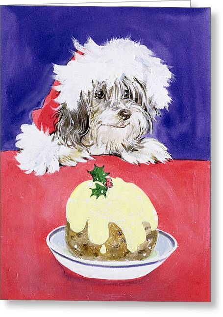 The Christmas Pudding Greeting Card by Diane Matthes