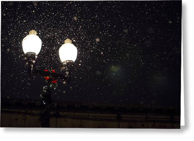 Snowy Night Night Greeting Cards - The Christmas Season Greeting Card by Mountain Dreams