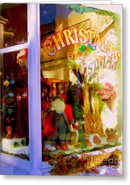 Store Fronts Greeting Cards - The Christmas Shop Greeting Card by Richard W Burdett