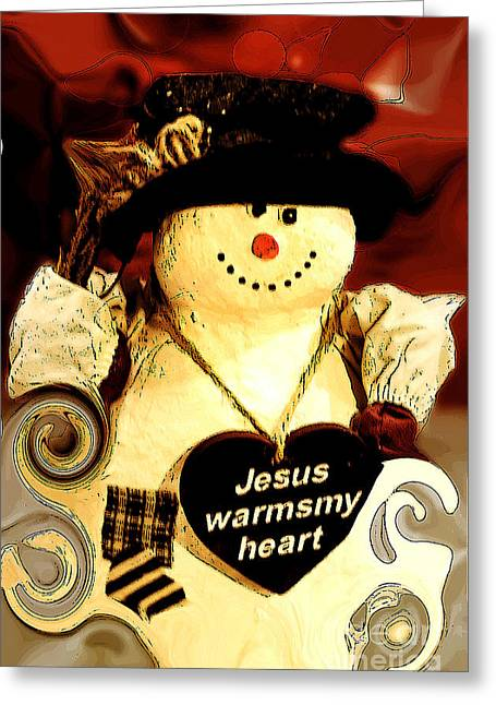 Canvas. Poster. Greeting Card. Christmas Card. Old Wagon. Vintage Wagon. Antiques. Woods. Trees. Forest. Path. Greeting Cards - The Christmas Snowman Greeting Card by MaryJane Armstrong