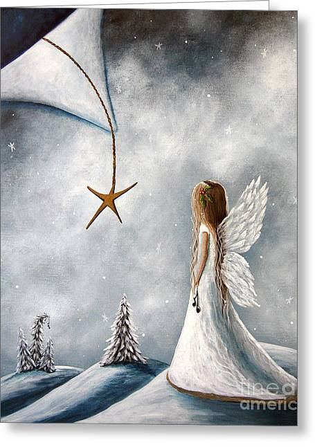 White Dress Paintings Greeting Cards - The Christmas Star Original Artwork Greeting Card by Shawna Erback