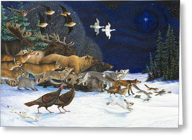 Wild Animals Paintings Greeting Cards - The Christmas Star Greeting Card by Lynn Bywaters