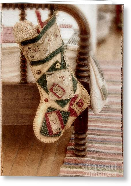 Home Made Quilts Greeting Cards - The Christmas Stocking Greeting Card by Margie Hurwich