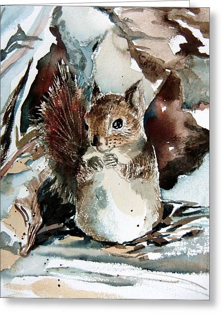 Wild Life Drawings Greeting Cards - The Christmas Sweet Greeting Card by Mindy Newman