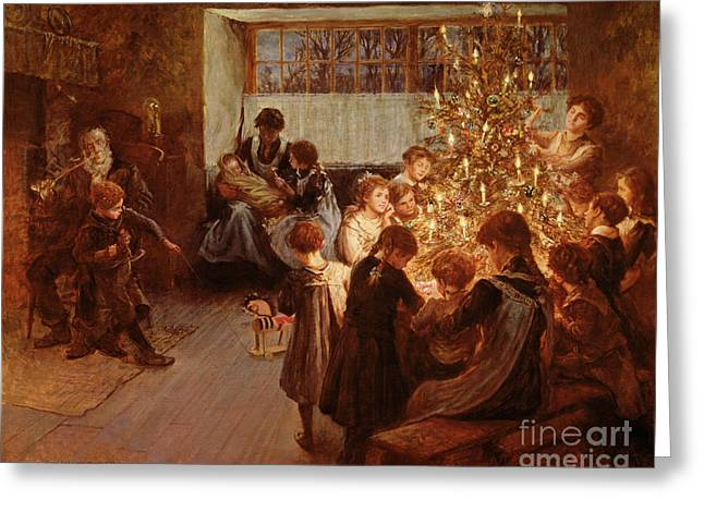 Gathering Greeting Cards - The Christmas Tree Greeting Card by Albert Chevallier Tayler