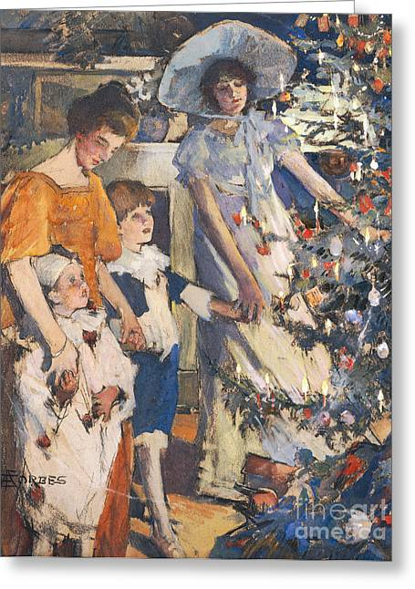 Gathering Greeting Cards - The Christmas Tree Greeting Card by Elizabeth Adela Stanhope Forbes