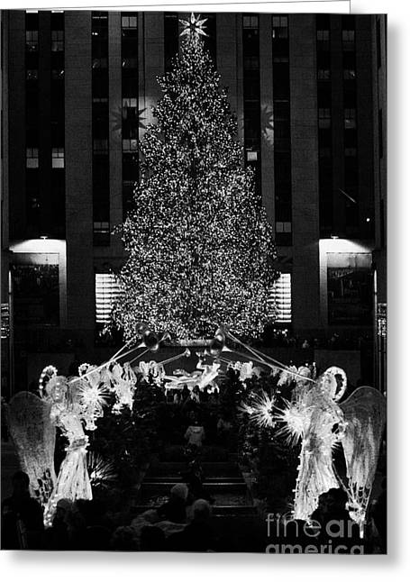 The Christmas Tree Lit Up At Night At The Rockefeller Centr New York City Greeting Card by Joe Fox