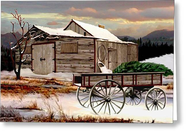 Wagon In A Barn Greeting Cards - The Christmas Tree Greeting Card by Ronald Chambers