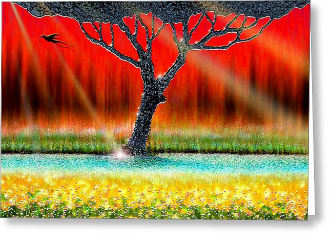 Cristopher Ernest Greeting Cards - The Chrome Tree Greeting Card by Cristophers Dream Artistry