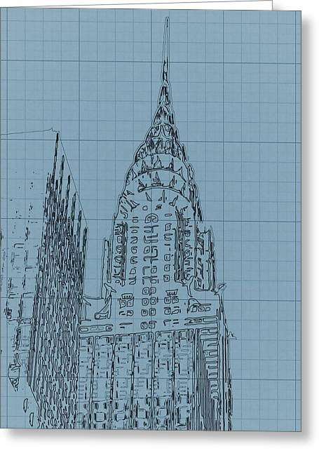 Brick Buildings Mixed Media Greeting Cards - The Chrysler Building Greeting Card by Dan Sproul