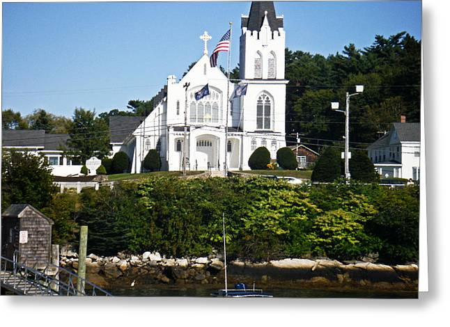 Maine Shore Greeting Cards - Boothbay Harbor Maine - The Church Across The Harbor Greeting Card by James Turnbull