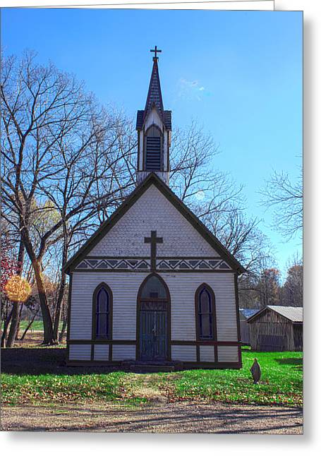 Billie Creek Village Greeting Cards - The Church at Billie Creek Greeting Card by Thomas Sellberg