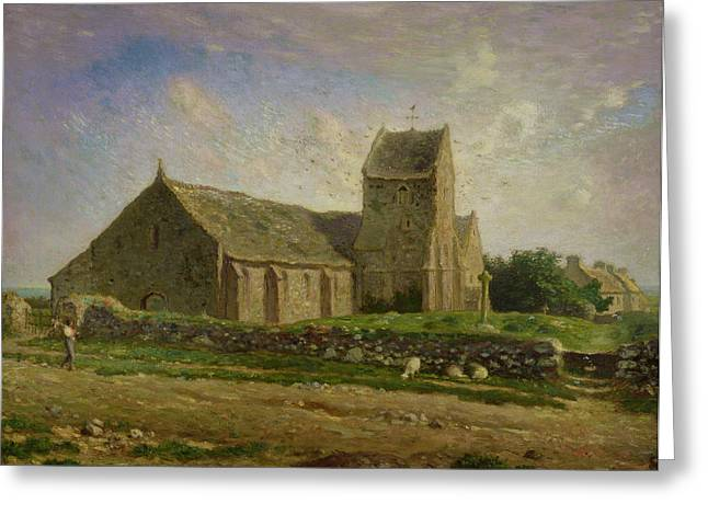 The Church At Greville Greeting Card by Jean-Francois Millet