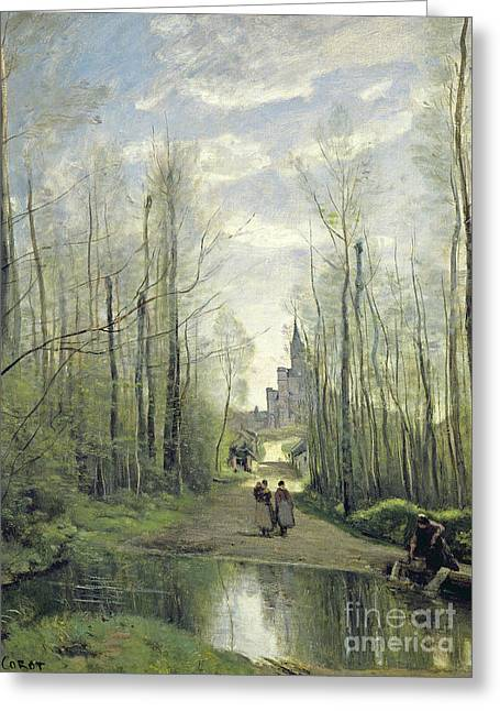 Corot Greeting Cards - The Church at Marissel Greeting Card by Jean Baptiste Camille Corot