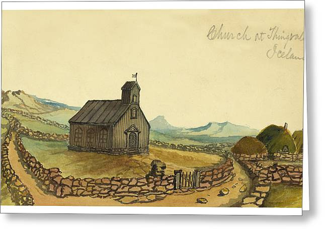 Middle Ages Drawings Greeting Cards - The Church at Thingvalla Iceland Circa 1862 Greeting Card by Aged Pixel