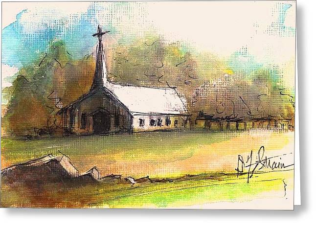 Fineartamerica Drawings Greeting Cards - The Church Greeting Card by Diane Strain