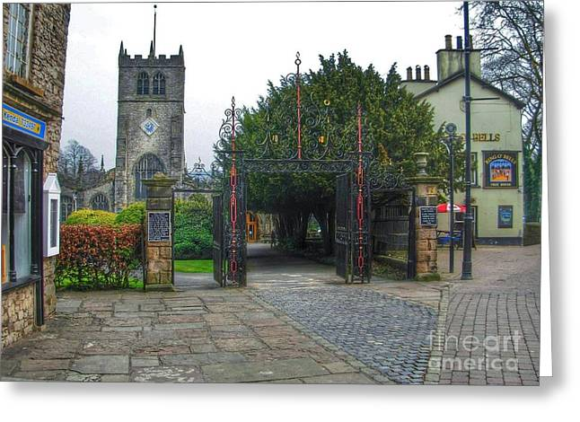 Kirkland Greeting Cards - The Church Gate at Kirklands in Kendal Greeting Card by Joan-Violet Stretch