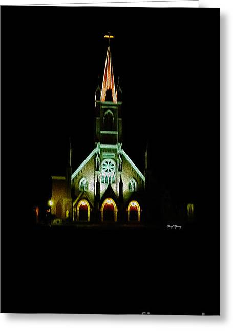 St Marys Greeting Cards - The Church Glows at Night Greeting Card by Cheryl Young
