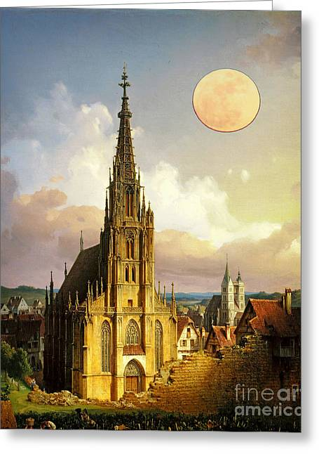 The Church Greeting Cards - The Church of Our Lady in Esslingen Greeting Card by Celestial Images