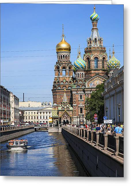 Church On Spilled Blood Greeting Cards - The Church Of Our Savior On Spilled Blood - Russia Greeting Card by Madeline Ellis