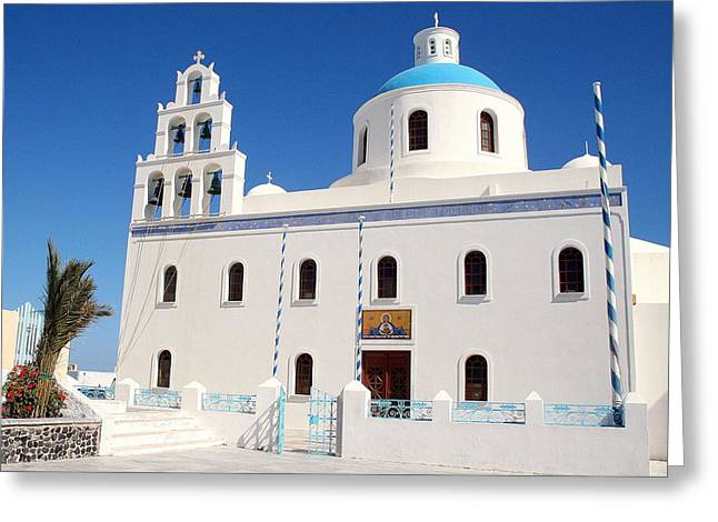 Panagia Greeting Cards - The Church of Panagia in Oia Santorini Greeting Card by Laurel Talabere