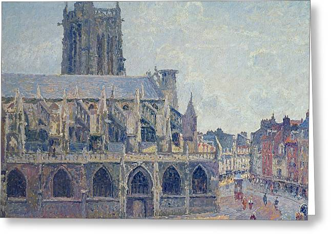 Camille Pissarro Greeting Cards - The Church of St Jacques in Dieppe Greeting Card by Camille Pissarro