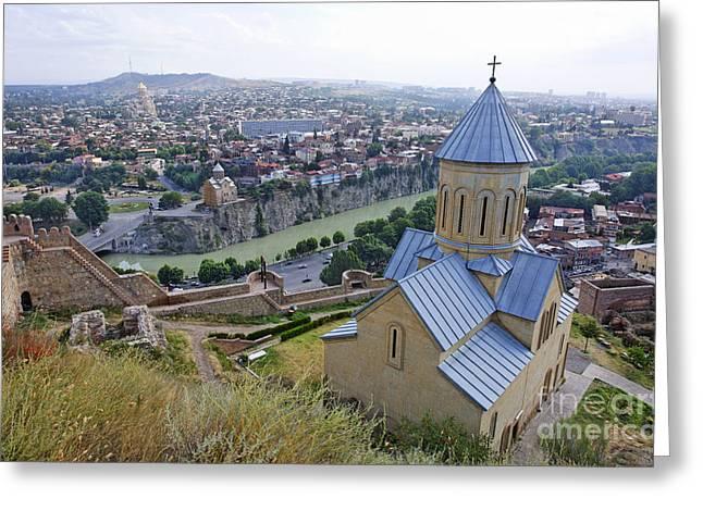 Nicholas Greeting Cards - The Church of St Nicolas overlooking Tbilisi Georgia Greeting Card by Robert Preston