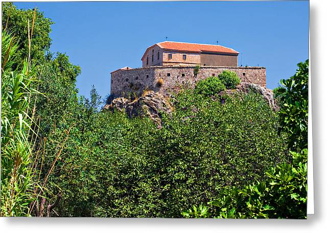 Panagia Greeting Cards - The Church On The Rock Greeting Card by Meirion Matthias