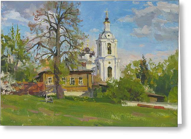 Lanscape Paintings Greeting Cards - The church Spasa za verhom Greeting Card by Victoria Kharchenko