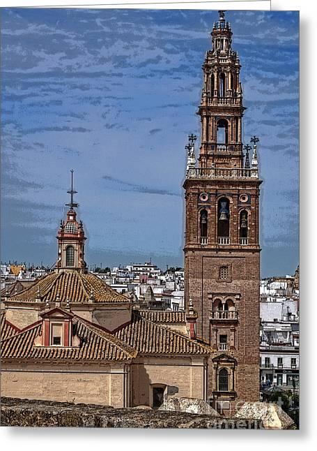 Carmona Greeting Cards - The Churches of Carmona Greeting Card by Mary Machare