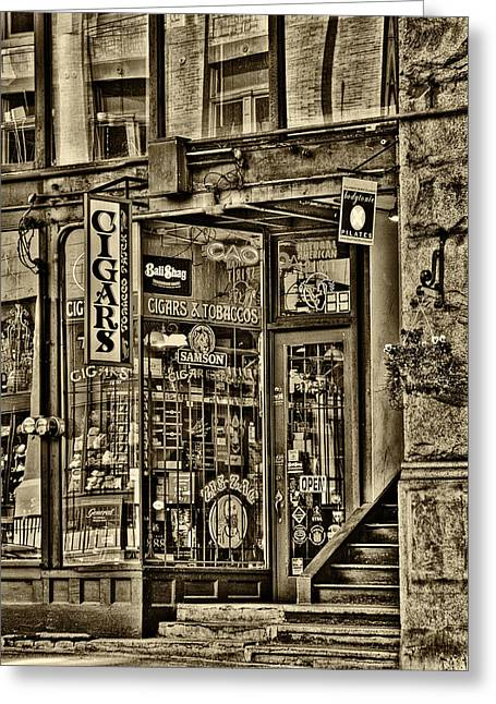 Pioneer Square Seattle Greeting Cards - The Cigar Store in Seattle Washington Greeting Card by David Patterson