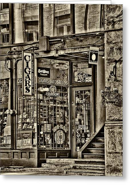 Pioneer Square Seattle Greeting Cards - The Cigar Store - Pioneer Square Greeting Card by David Patterson
