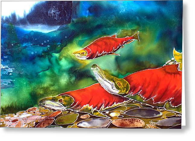 Salmon Paintings Greeting Cards - The Circle of Life Greeting Card by Judy Swircenski