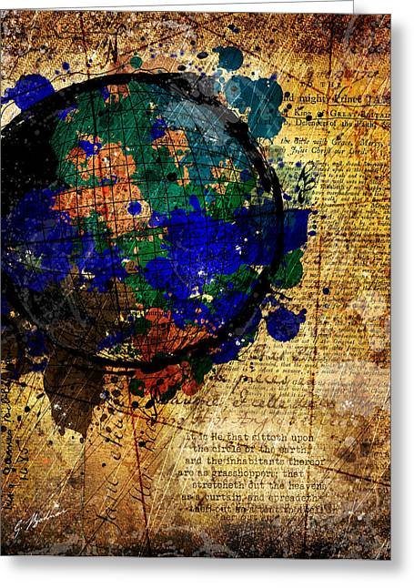 Blue Abstracts Greeting Cards - The Circle Of The Earth Greeting Card by Gary Bodnar