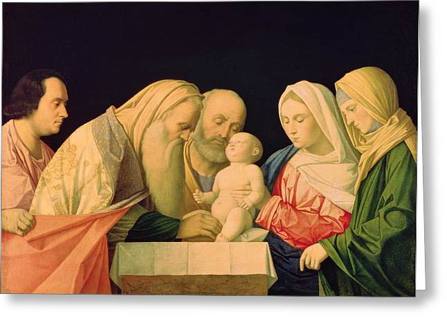Simeon Greeting Cards - The Circumcision Oil On Canvas Greeting Card by Vincenzo di Biagio Catena