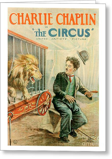 Chaplin Poster Greeting Cards - The Circus Charlie Chaplin Movie Poster Greeting Card by MMG Archive Prints