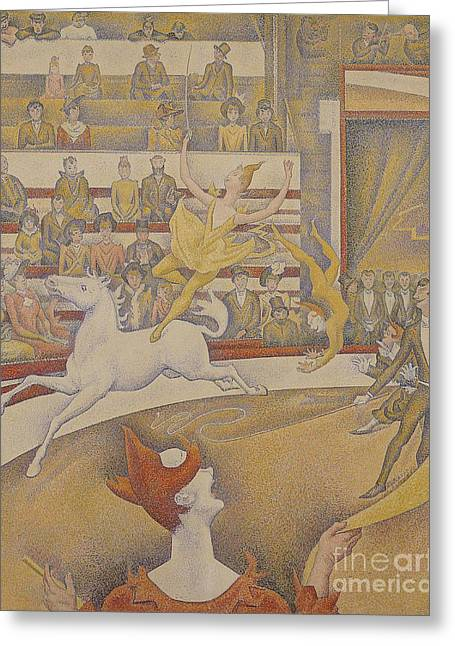 Technique Greeting Cards - The Circus Greeting Card by Georges Pierre Seurat