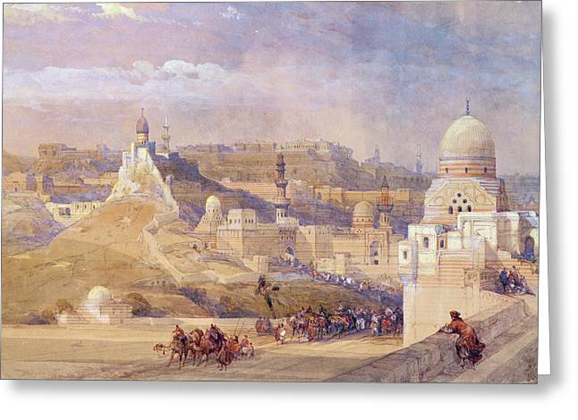 Vernacular Architecture Greeting Cards - The Citadel Of Cairo, Residence Of Mehmet Ali, 1842-49 Colour Litho Greeting Card by David Roberts