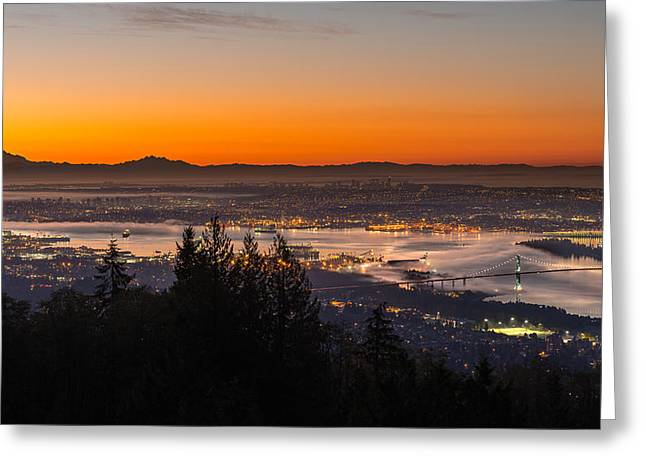 North Cascades Greeting Cards - The City Awakens Greeting Card by Ian Stotesbury