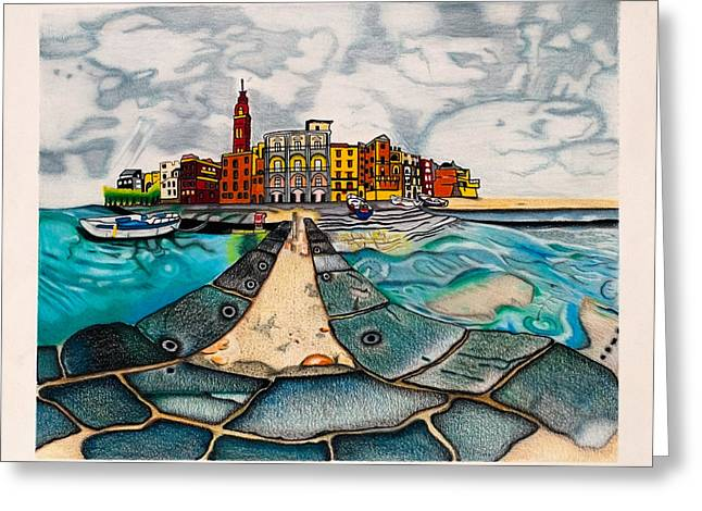 Red Buildings Drawings Greeting Cards - The City by the Sea Greeting Card by Teri Schuster