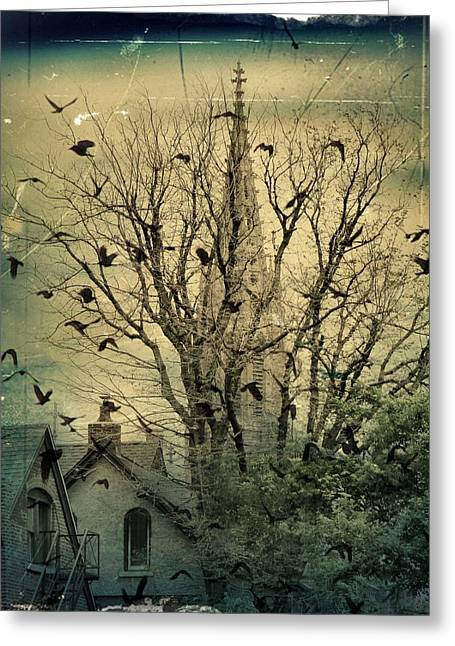 The City Crows Greeting Card by Gothicolors Donna Snyder