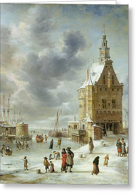 Ice-skating Greeting Cards - The City Gate Of Hoorn Oil On Canvas Greeting Card by Jan Abrahamsz. Beerstraten