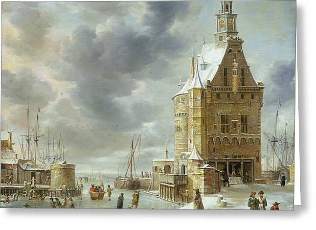 The City Gate Of Hoorn  Greeting Card by Jan Abrahamsz Beerstraten